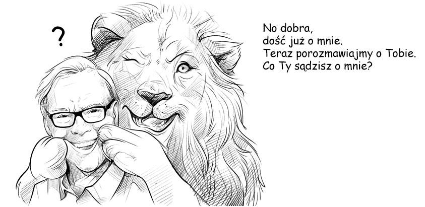 Człowiek i lew zwracają się do grupy docelowej