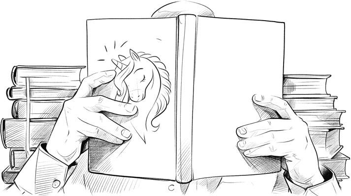 Mężczyzna czyta z książki przykładowe teksty reklamowe